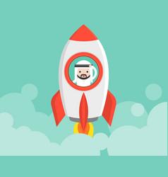 cute arab businessman in launching rocket vector image