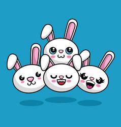 cute rabbits characters kawaii style vector image