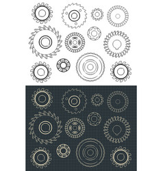 Cutting and milling circles set vector