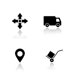 Delivery service drop shadow icons set vector