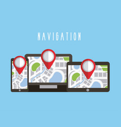 digital devices with navigation gps map on screen vector image