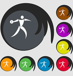 Discus thrower icon symbols on eight colored vector