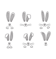 Easter bunnies hand drawn face rabbits black vector
