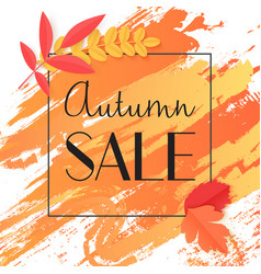Fall autumn sale banner with paint and leaves in vector