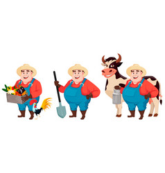 Fat farmer agronomist set of three poses vector