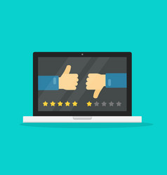 feedback online or review on computer laptop vector image