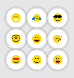 Flat icon expression set grin pleasant laugh vector