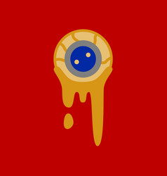 Flat icon on background halloween zombie eyes vector