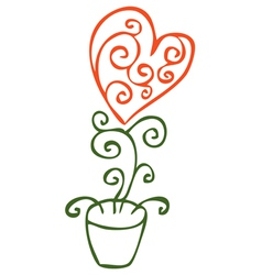 Flower in the form of heart in a pot vector