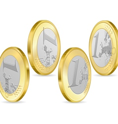 full set one euro coins vector image