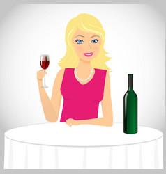 Girl drinks wine vector