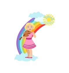 Girl Playing Violin With Rainbow And Clouds vector image