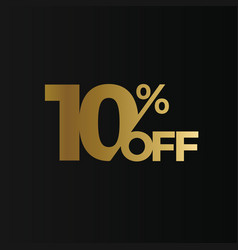 golden 10 percent off flat cartoon style vector image