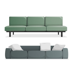 gray and green modern sofa vector image