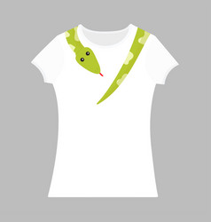 green snake python head tail on neck t-shirt vector image