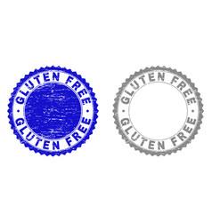Grunge gluten free scratched stamp seals vector