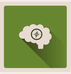 guided brain on green background with shade vector image