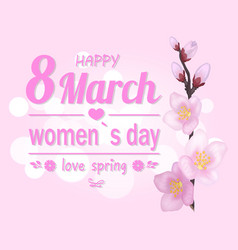happy 8 march pink banner vector image