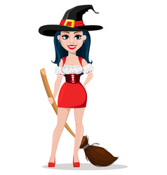 happy halloween sexy witch in beautiful dress vector image