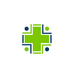Healthy and care logo design people with medical vector