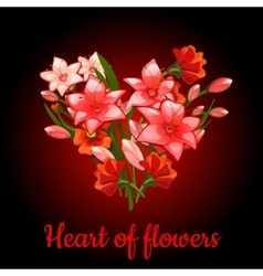 Heart of flowers lilies vector image