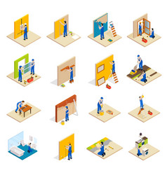 home repair isometric set vector image