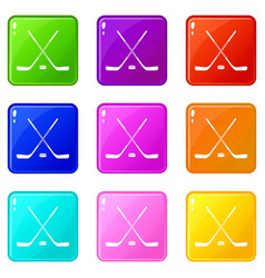 Ice hockey sticks icons 9 set vector
