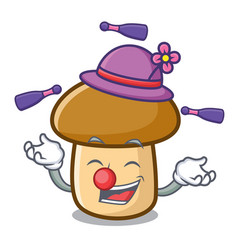 Juggling porcini mushroom mascot cartoon vector