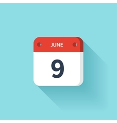 June 9 isometric calendar icon with shadow vector