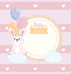 Label cute rabbit animal with balloons and vector