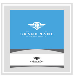 Letter i shield wing logo design concept vector