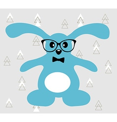 Little blue hare with glasses and bowtie vector image