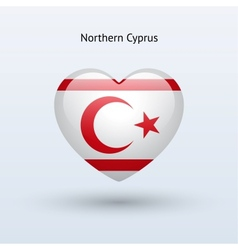 Love Northern Cyprus symbol Heart flag icon vector