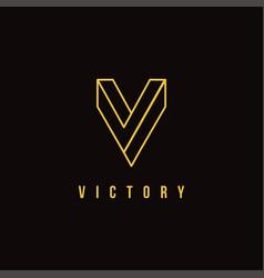 luxury minimalist letter v logo vector image