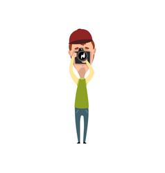 Male photographer paparazzi blogger or vector