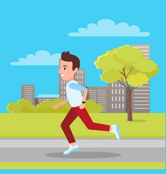man jogging at city park vector image