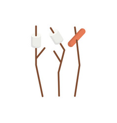 marshmallow and sausage camping sticks vector image