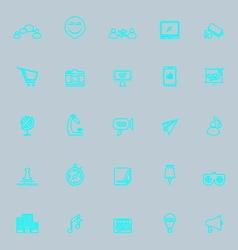 Media marketing blue line icons vector