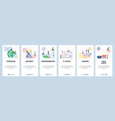 Mobile app onboarding screens travel airplane vector