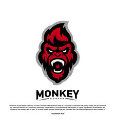 Monkey gorilla esport gaming mascot logo template vector