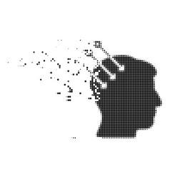 Neural interface connectors destructed pixel icon vector