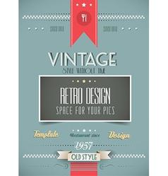 Old style vintage menu day background vector