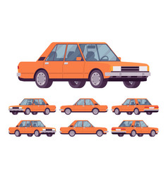 orange sedan set vector image