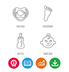 Pacifier baby boy and bottle icons vector