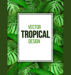 paper sheet on background tropical leaves vector image