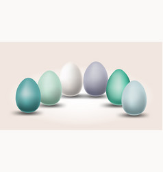 pastel color eggs for easter day with different vector image