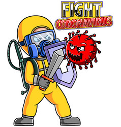 People in protective suit or clothing fight vector