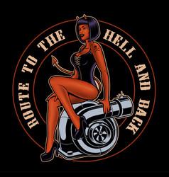 pin up girl devil on turbocharger vector image