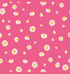 Pink yellow daisies ditsy seamless pattern vector