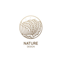plant logo tropical leafs in circle leaf vector image